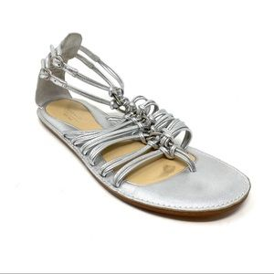 Coach silver leather Gillian gladiator sandals